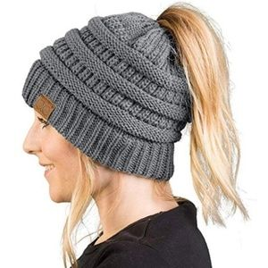 Cran Clothing Co. Ponytail Beanie Grey